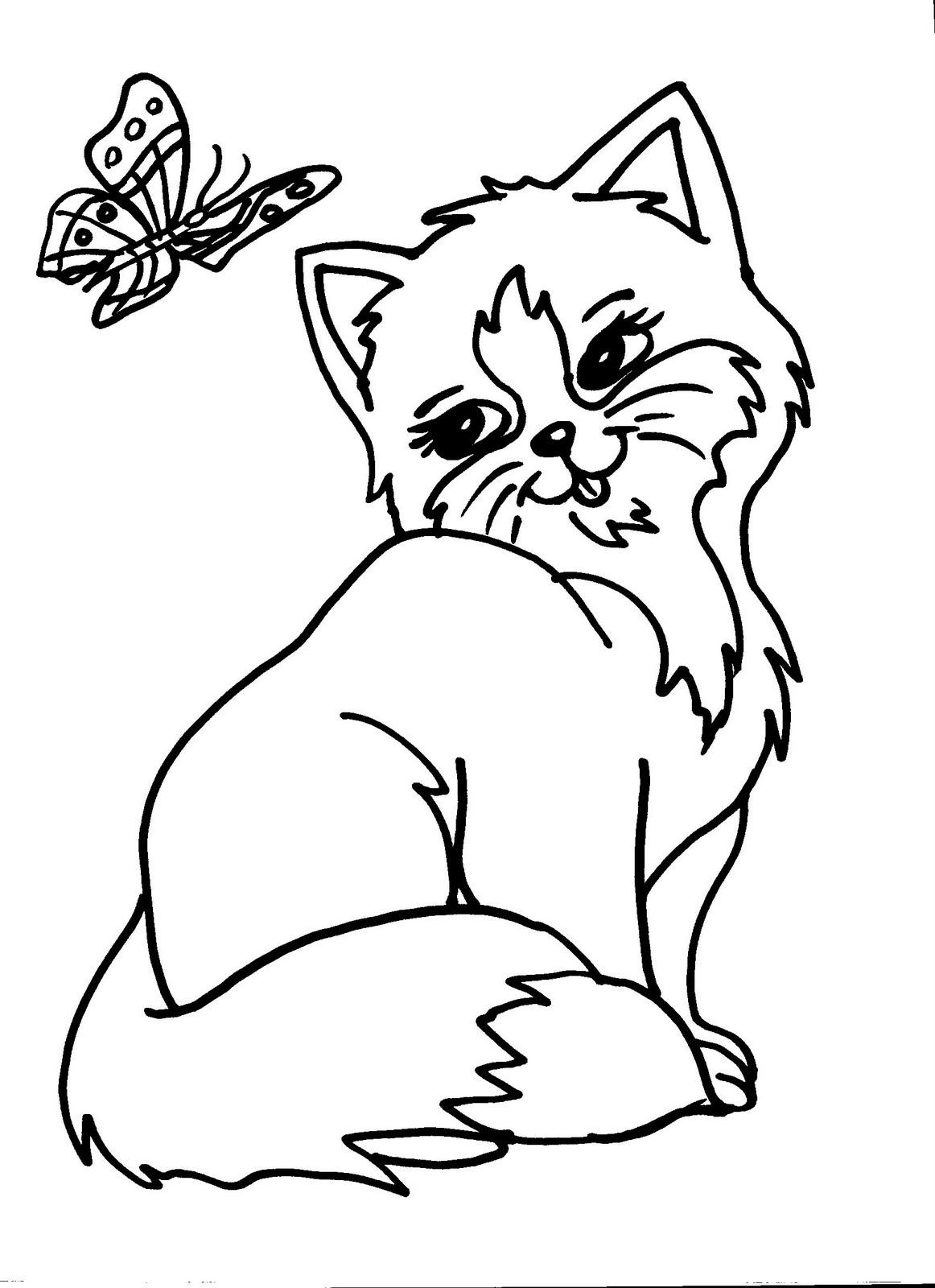 Disegni Da Colorare E Stampare Di Gatti E Cani.Disegni Di Animali Della Fattoria Per Bambini