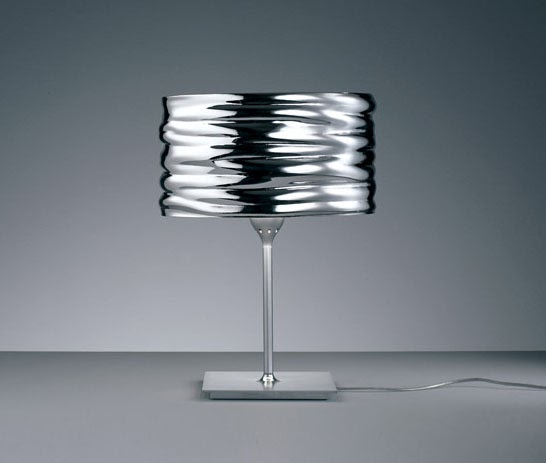 Contemporary Metallized Chrome Table Lamp With Round Shade