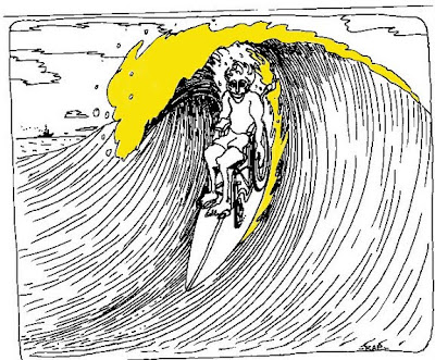 Cartoon of wheelchair-user surfing