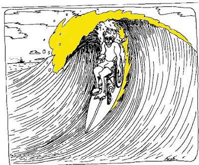 Cartoon of wheelchair-user surfing