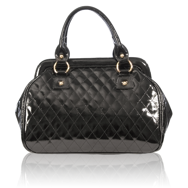 Pictured Christine Price S Sibyl Bag Has Gold Hardware Calfskin Patent Leather And Rolled Double Handles