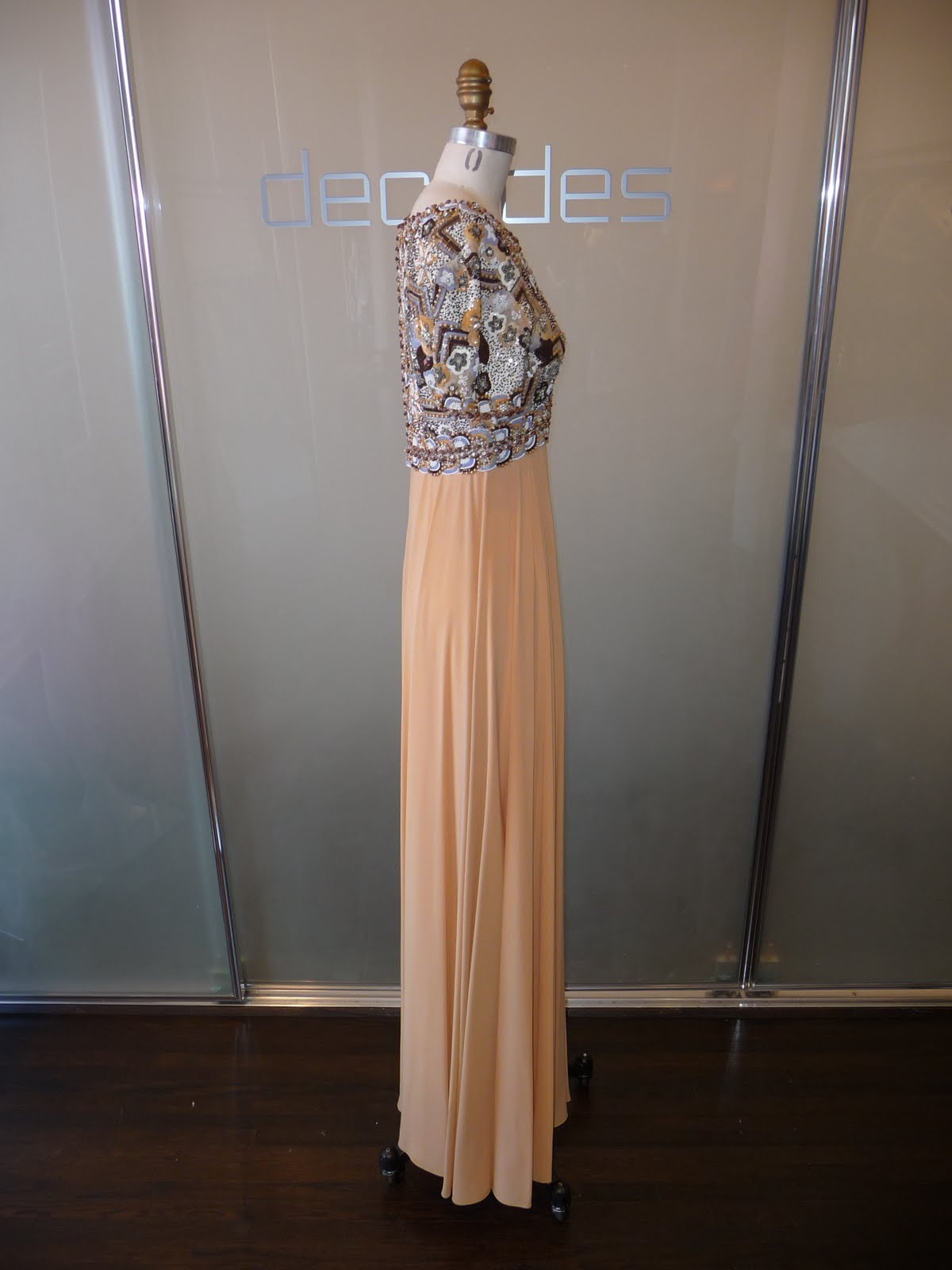 1e0218ed Pierre Balmain Haute Couture apricot chiffon and Lesage embroidered evening  gown. c. late 1960s. Modern size 2 SOLD