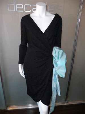 7e77b489ca9 Yves Saint Laurent Rive Gauche black hammered silk wrap dress with baby  blue taffeta swag, c.1980's. Marked size 42, contemporary size 4-6. SOLD