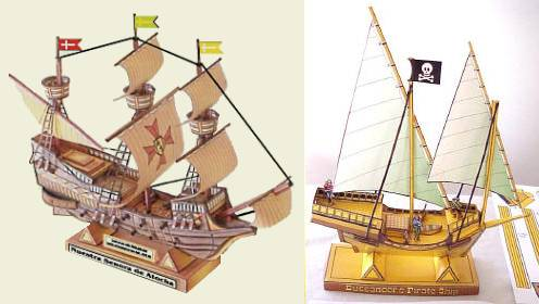 Galleon and pirate ship paper models for Pirate ship sails template