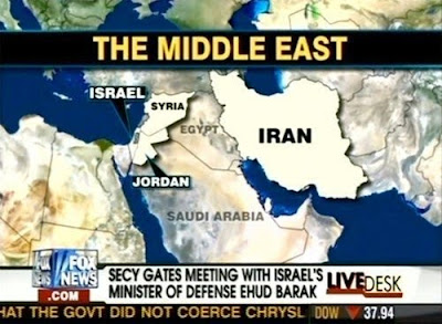 Shows map of middle east in a Fox News broadcast, with Iraq mislabelled as Egypt...