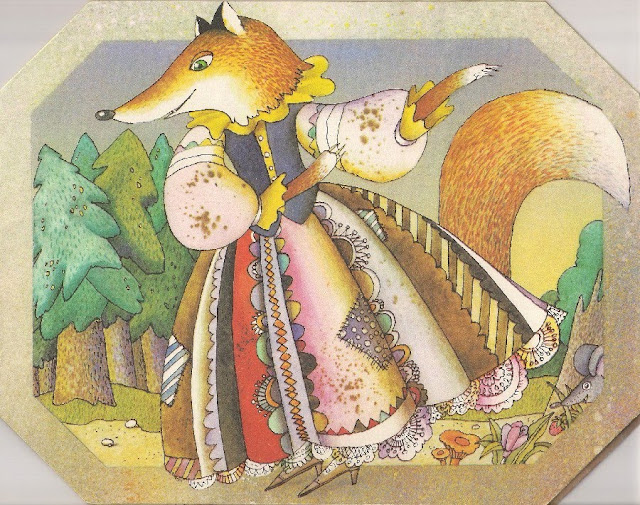 Fox, Russian fairy tale, illustration