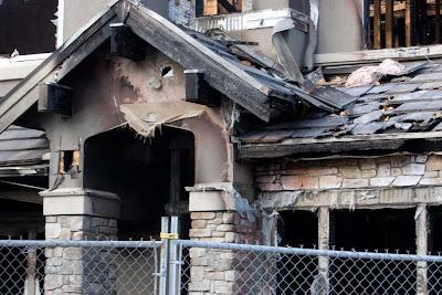 Burned house, close-up