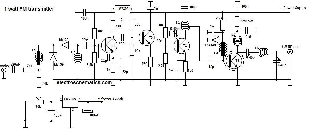Rangkaian Fm Transmitter 1w Gambar Skema Rangkaian