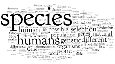 RRTeaching: Word-cloud of the 3491 questions about biology