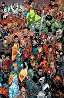 Marvel Universe Olivier Coipel Civil War Puck Microbe Night Thrasher Captain Britain Wonder Man Iron Fist Deadpool Hercules Radioactive Man Namorita Nick Fury Captain Marvel Carol Danvers Power Man Luke Cage Silver Surfer Hulk Black Cat Falcon Mary Jane Watson Black Bolt Thing Hulkling Namor the Sub-Mariner Human Torch Invisible Woman Daredevil Spider-Man Mr. Fantastic Iron Man Dr. Strange Nova Cloak Dagger Spider-Woman Wolverine She-Hulk Captain America Asgardian Kate Bishop Patriot Sentry Nightcrawler Iceman Ghost Rider Cyclops Punisher Black Widow Werewolf by Night Avengers X-Men Fantastic Four Young Avengers New Warriors comic book