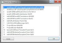 Вид стека вызовов в Process Explorer без отладочной информации