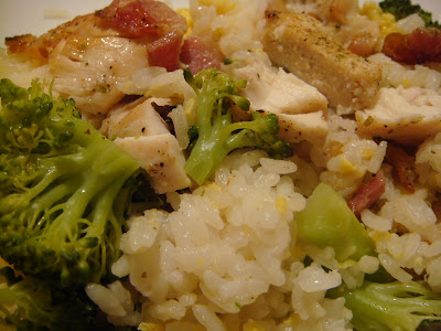 chicken, bacon, scallions, and broccoli with fried rice