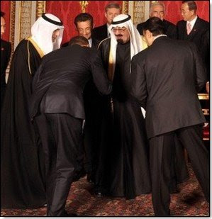 Obama trauma and the Bow Felt around the World - Hussein Obama bows to Muslim King of Saudi Arabia