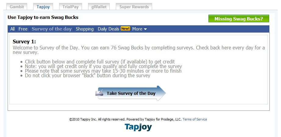SwagMelt: Special Offers Breakdown part 7 - TapJoy! (OMG I'm Back!)