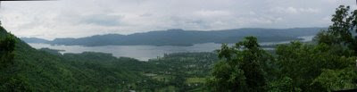 Posted Vibha Malhotra :  Baba Balak Nath, Hamirpur, Himachal Pradesh : Panoramic view of the Govind Sagar