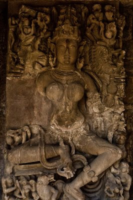 Posted by Vibha Malhotra: Chausath Yogini Temple - Jabalpur : Close-up of one of the 64 idols. Only a few are almost intact.