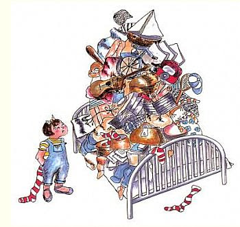 Cartoon of girl looking at a bed piled high, high, high with junk