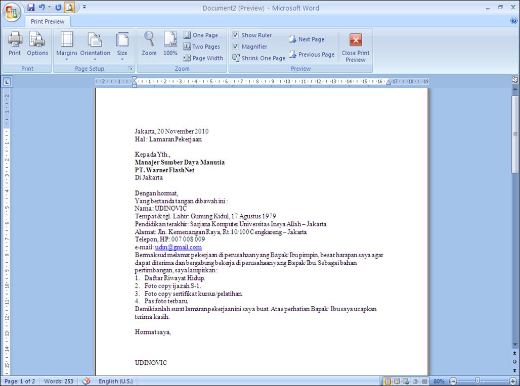 Cara membuat surat lamaran kerja | BLOG C