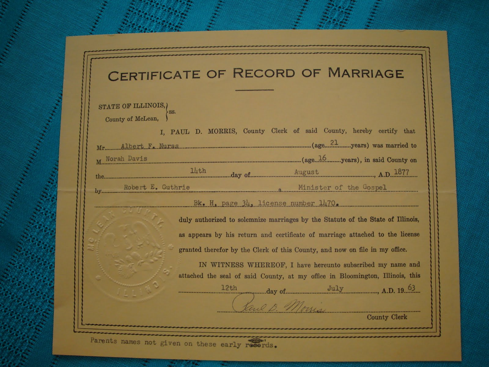 morris county marriage liscense records