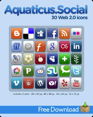 Aquaticus Social by jwloh 75 Beautiful Free Social Bookmarking Icon Sets