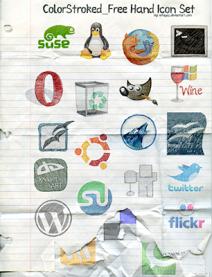 FreeHand Color Stroked social bookmarking icon pack by mfayaz 75 Beautiful Free Social Bookmarking Icon Sets