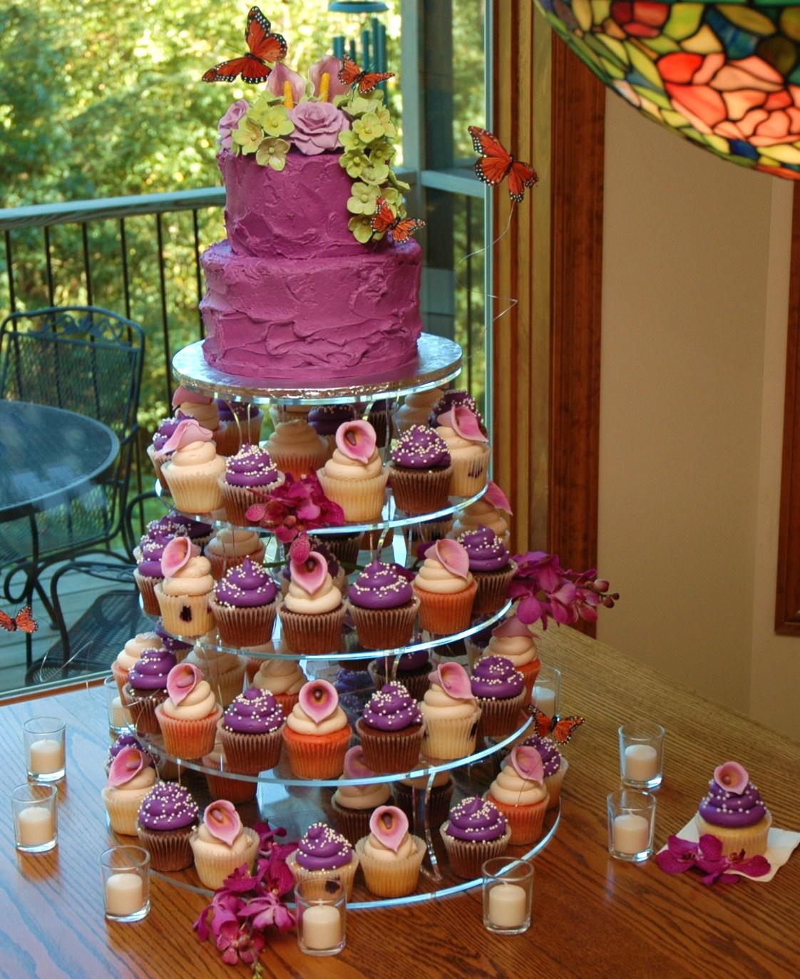 Wedding Cupcake Tower: Tara's Cupcakes: Sangria Butterfly Wedding Cupcake Tower
