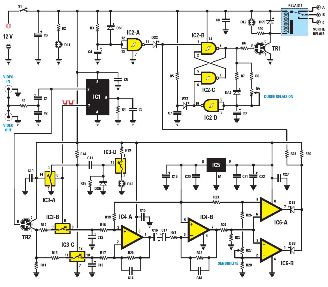 Schema electronique capteur de mouvement