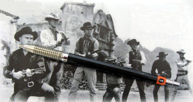 Pentel Mechanica on background of The Magnificent Seven film still