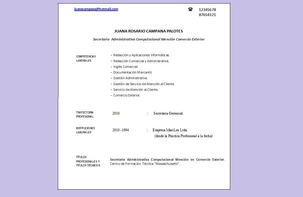 Curriculum Vitae Moderno Chile 65 38 95 208