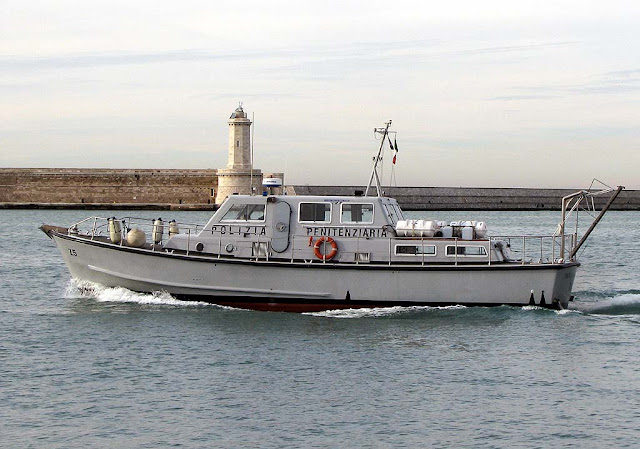 Patrol boat to Gorgona island, port of Livorno