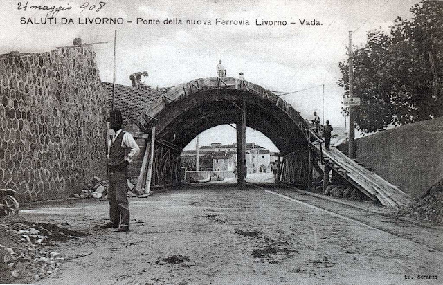 Old postcard, Railway bridge under construction, Ardenza, Livorno