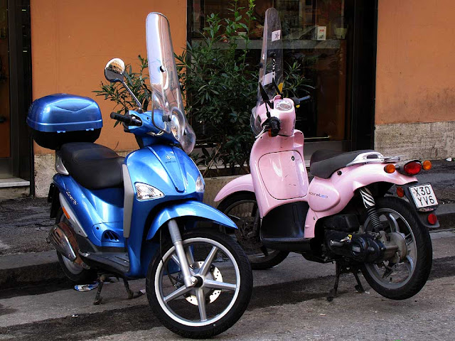Blue scooter & pink scooter