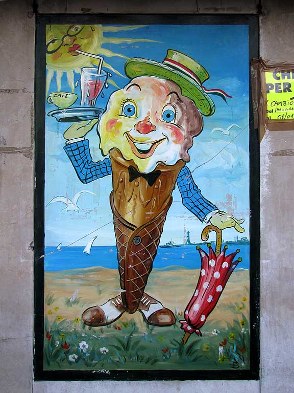 Old fashioned ice cream sign, Livorno