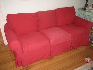 Treasure Basket Pottery Barn Cranberry Twill Couch Sofa