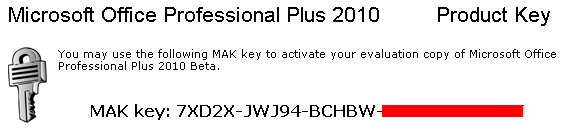 Microsoft Office 2010 Professional activation code