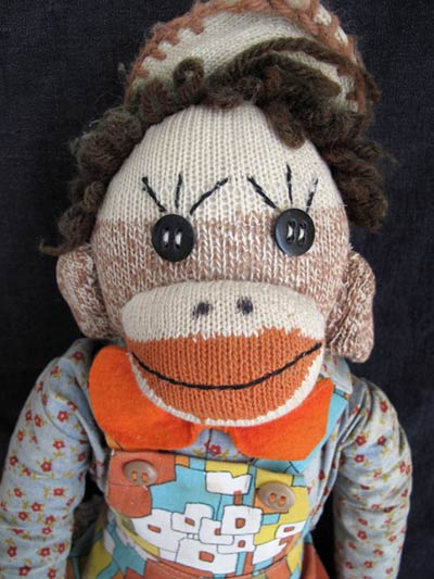 antique farmer sock monkey