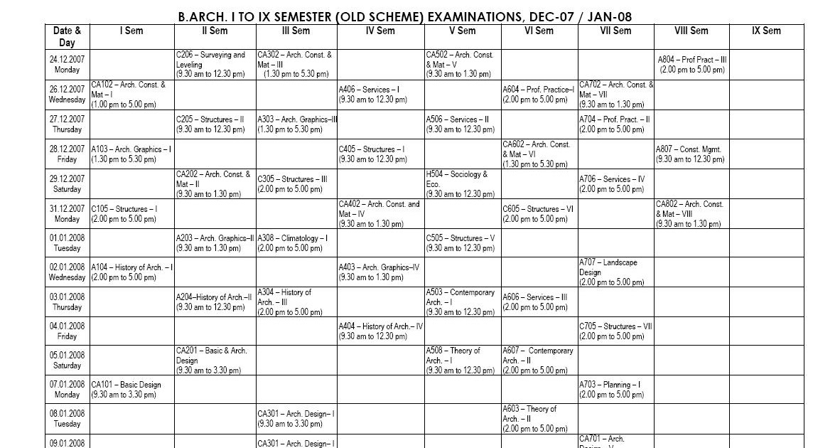 VTU News: I to IX Semester(old scheme) Time Table for
