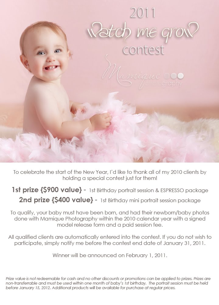 Vancouver baby photographer watch me grow contest