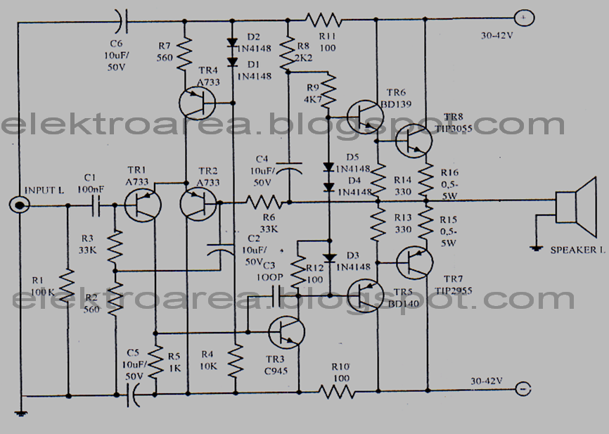 diagram of a 150 watt power amplifier circuit