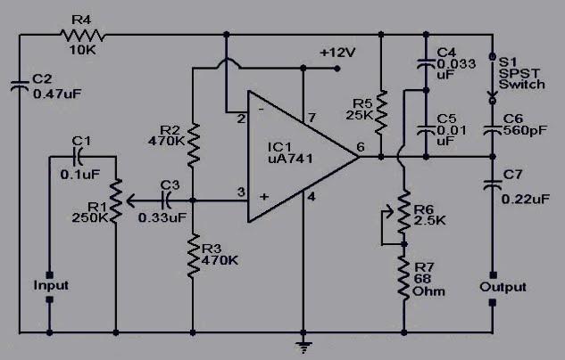 Kumpulan Skema Elektronika Rangkaian Pre Amp Spul Gitar