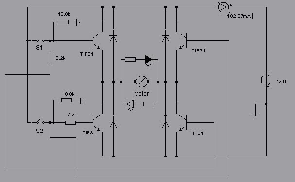 dc motor control with tip31