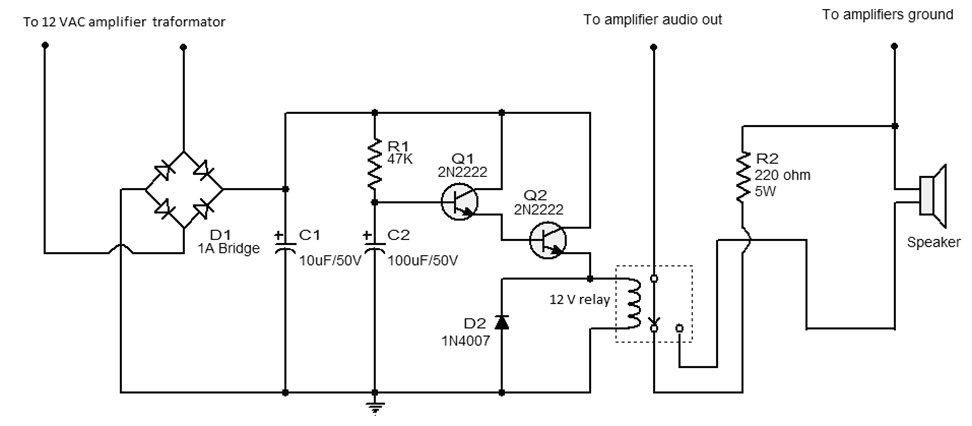 amplifier output delay with relay