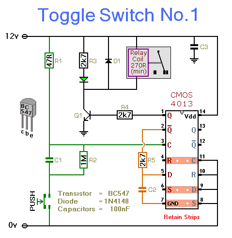 Rangkaian Toggle Switch With Relay Koleksi Skema