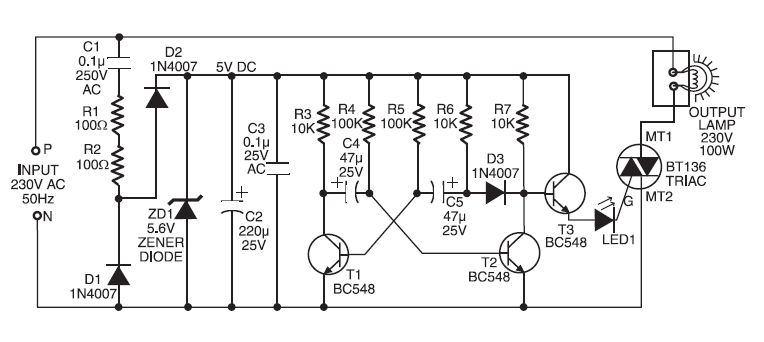 220V AC Operated Christmas Light Star Circuit |Koleksi Skema Rangkaian|Artikel Elektronika