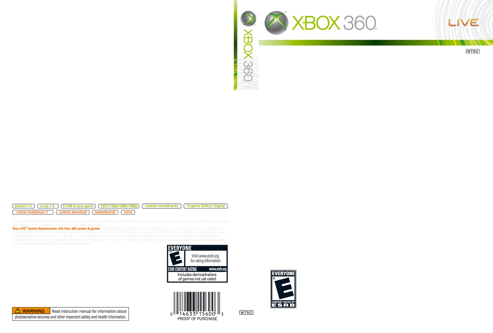 Games covers xbox 360 cover template for Video game cover template