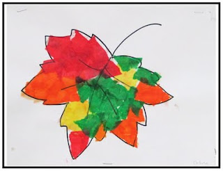 Creating Art With Kids: fall leaf tissue paper collage