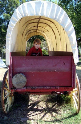 Dallas Arboretum covered wagon with 2 year old in back