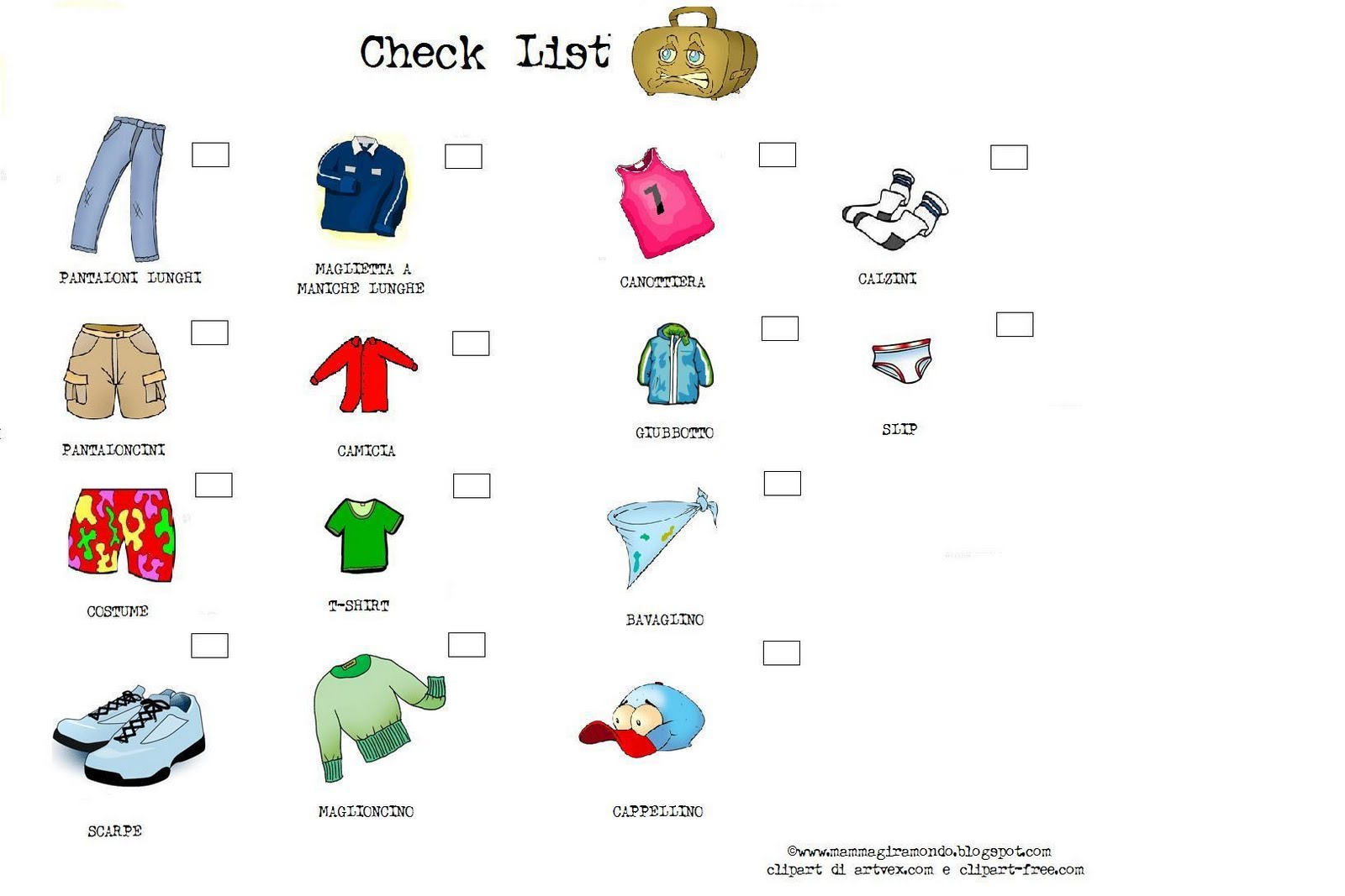 Preparare la valigia con i bambini packing check list for for Disfare la valigia in inglese