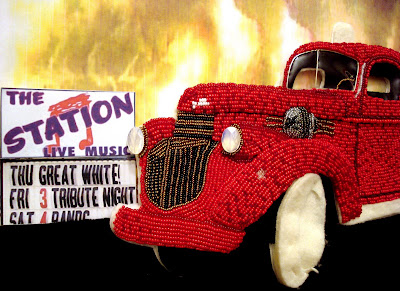 Beaded 43 Chevy fire truck RI Rhode Island night club fire Station memorial burn victims bead Boston pop art