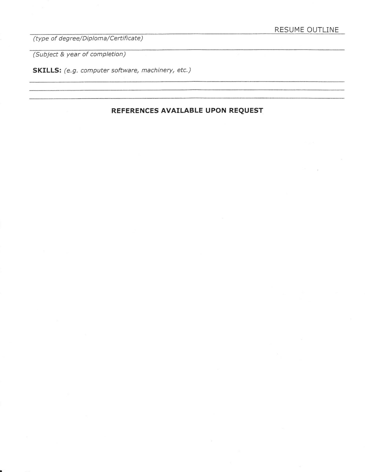 employment fitness zone  resume outline and sample